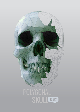 Green shatter low poly vector skull front view on gray background