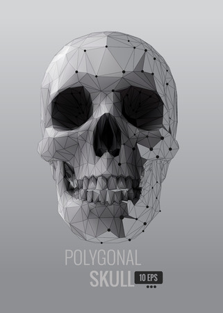 Shatter low poly vector skull front view on triangular BG with monochrome color Stock Illustratie