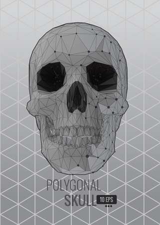Shatter low poly vector skull front view on triangular background with monochrome color in flat style