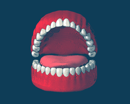 Teeth and gum engraving with color illustration isolated on dark blue background