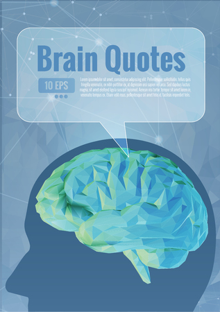 Green vector polygonal brain concept illustration on blue background