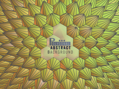 Low poly abstract geometric template background durian or spiky shape with yellow and green color tone