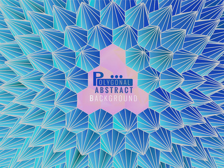 Low poly abstract geometric template spiky shape background with blue and pink color tone