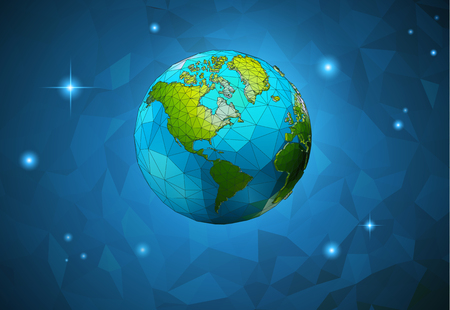 Low poly cartoon earth on polygonal space background with eco conceptual