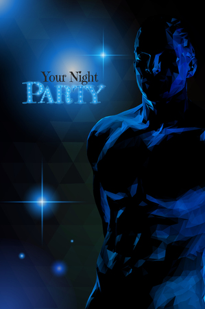 Low poly male body dim light in deep blue darkness with space for night party poster Vectores