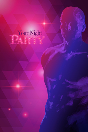 Low poly male body dim light in the darkness with space for night party poster pink and purple tone on triangular pattern background poster