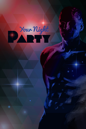 Low poly  muscular man body illustration on retro triangular pattern background for variety entertainment graphic layout