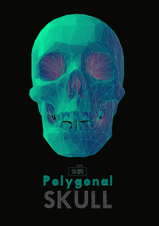 Low poly vector skull front view in green and red color isolated on black background
