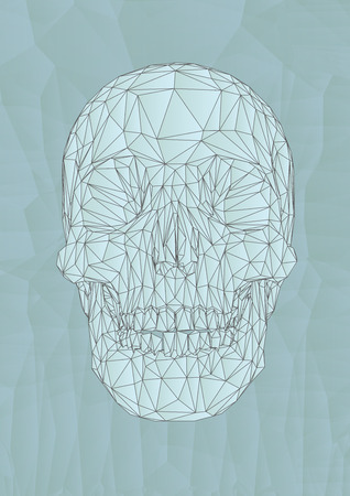 Low poly vector skull drawing graphic illustration on light blue facet background