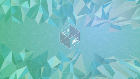 Polygonal abstract shape for template logo on green background