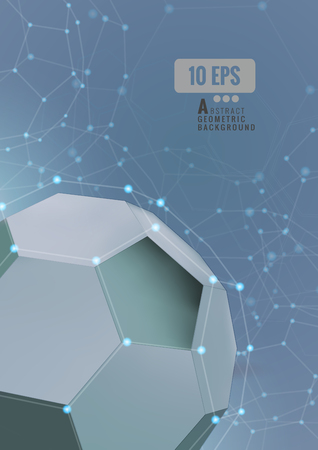 Abstract hexagonal soccer shape in technology conceptual on gray background 矢量图像