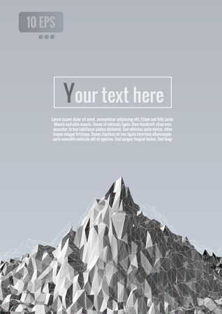 Abstract polygonal with overlap wireframe on gray background with space for text copy