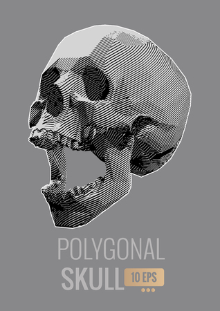 Monochrome vector stylized stripe line skull screamillustration isolated on gray background