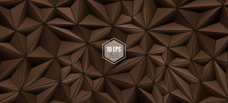Triangular abstract 3D background in chocolate brown color