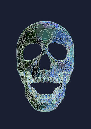 Skull open mouth front view with Iridescent colors style on dark background
