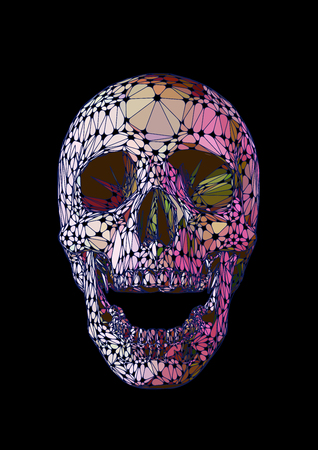 Skull open mouth front with Iridescent colors style on black background