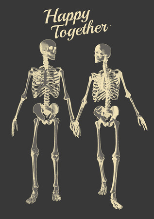 A couple of engraving skeleton in holding hand action with negative illustration isolated on gray background