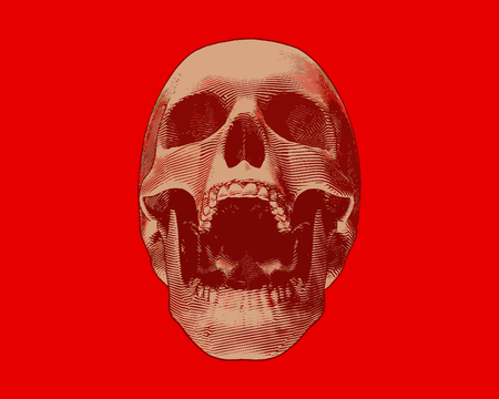 Engraving gold skull front view illustration screamimg on red background