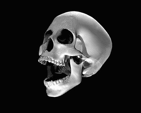 Engraving monochrome perspective view skull illustration screaming on dark background