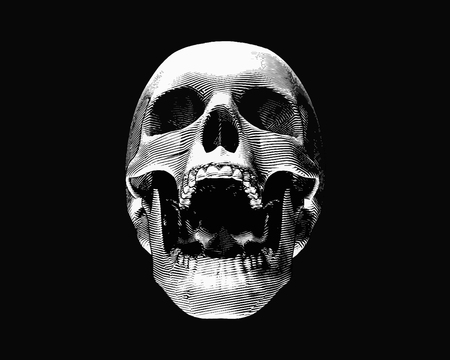 Engraving monochrome front view skull illustration screaming on dark background