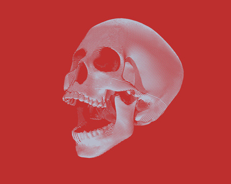 Engraving monochrome perspective view skull illustration screaming on red background