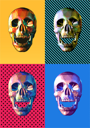 Low poly skull front view open mouth pose colorful four pop art style  Illustration
