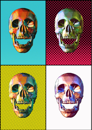 Low poly skull front view open mouth pose colorful four popart style