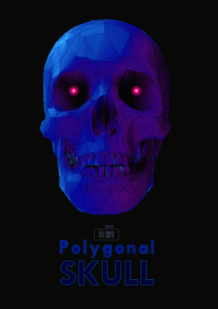 Low poly vector skull front view in dark blue and purple color with wireframe and glowing eye on dark background