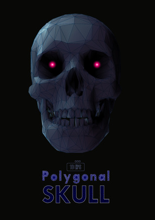 Low poly vector skull front view in gray color with wireframe and red glowing eye on dark background Stock Illustratie