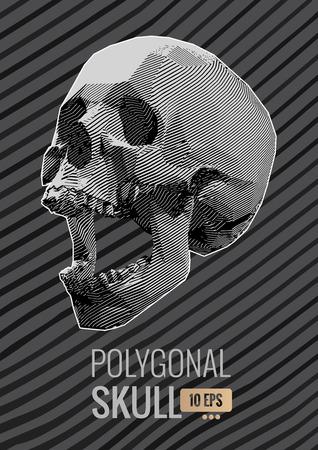 Monochrome stylized stripe line skull illustration on dark stripe background