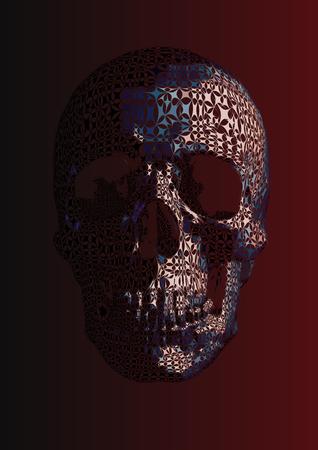 Sparkling star stylized skull illustration shape isolated on dark red background