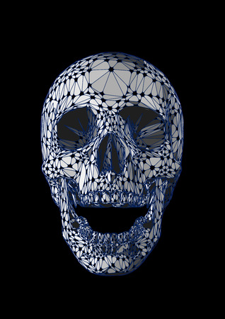 Abstract stylized skull open mouth front view with iridescent monochrome color style isolated on black background