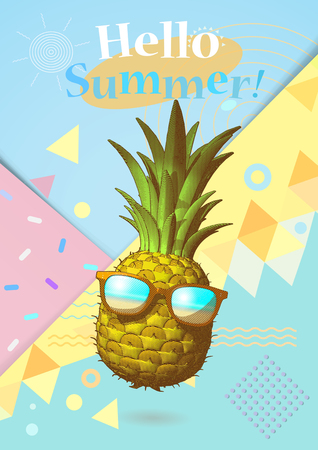 Abstract geometry element and engraving drawing pineapple illustration with sunglasses on colorful pastel background for summer event Vectores