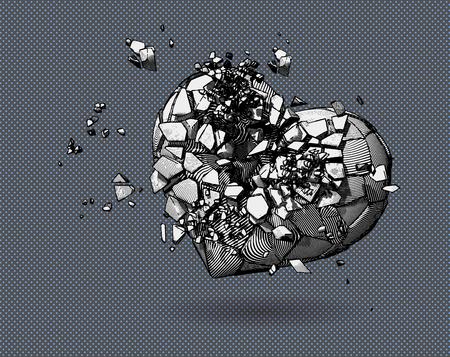 Einfarbiges Symbol des gebrochenen Herzens mit Stift- und Tintenzeichnungsstil auf Tupfen-Pop-Art-Hintergrund Vektorgrafik