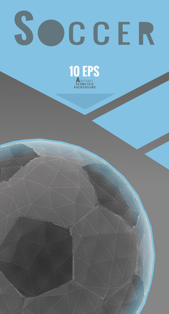Low poly soccer ball graphic layout on gray color with space for text