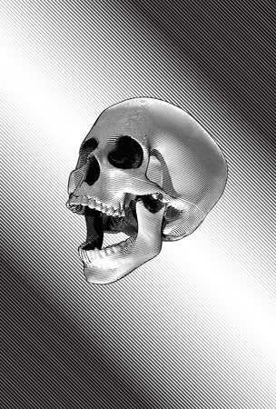 Gravure illustration crâne cri sur fond de ligne stipe