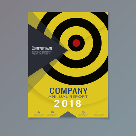 Company annual report with abstract triangular shape and target circle dart board on yellow layout template