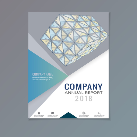 Company annual report with abstract triangular geometric shape on gray and white layout template background