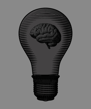 Ampoule sombre et gravure du cerveau dessin illustration isolé sur fond gris