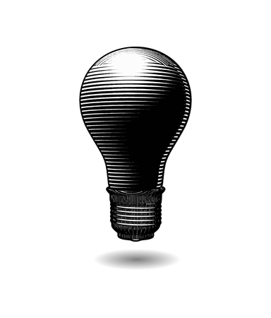 Switch off dark light bulb engraving drawing illustration isolated on white background