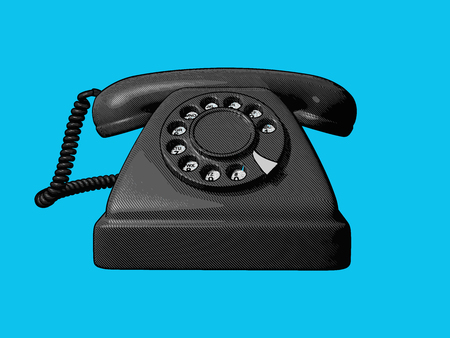 vintage old telephone vector engraving drawing in front view isolated on blue background Illustration