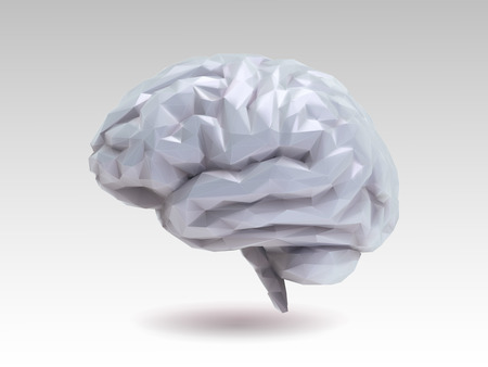 Low poly glossy gray brain with 3D shading illustration isolated on white background