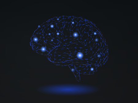Low poly stylized wireframe brain nerve symbol with connection dots glowing on black background