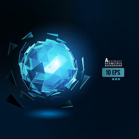 Polygonal abstract triangle sphere combination glow on dark space background