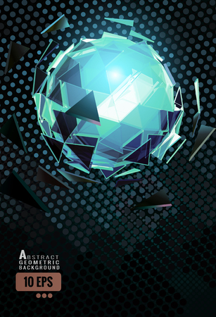Polygonal abstract triangle sphere combination glow on dynamic polka dot pattern background in green color scheme