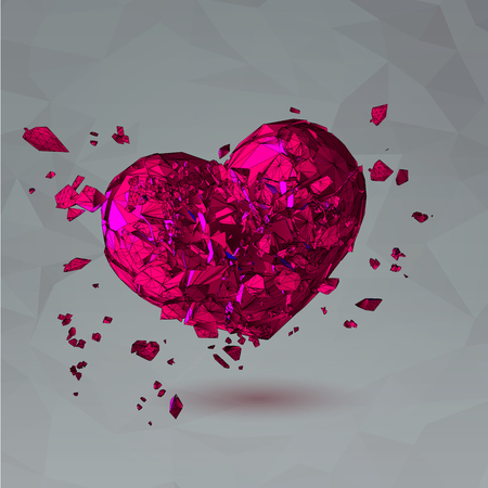 Polygonal pink broken heart with polygon line in action on low poly gray background