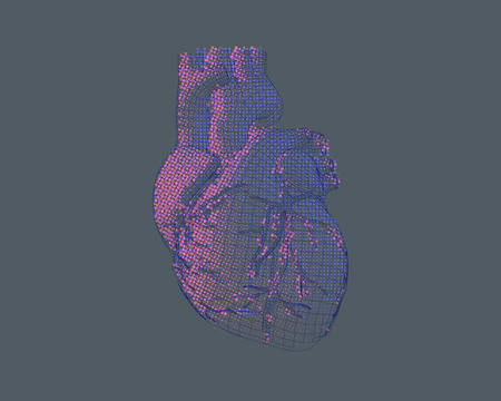 Stylized wireframe and halftone effect human heart in bright colorful pink on gray background