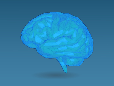 Low poly stylized colorful blue brain with 3D shading and wireframe illustration on dark blue background Иллюстрация