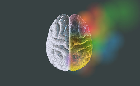Creative concept of Left and right brain illustration with colorful on right side isolated on dark gray background