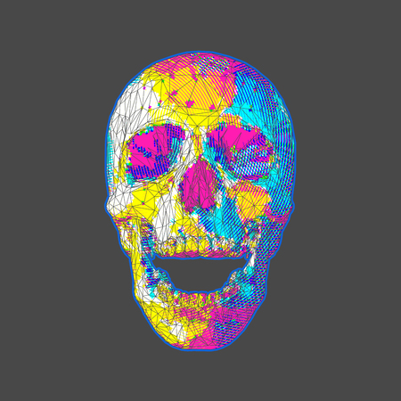 Low poly stylized bright colorful skull with circle stripe pattern on dark background